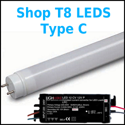 Type C T8 LED Tubes w/ External Drivers