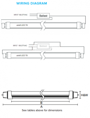 forest lighting univ8 ledt8 tubes with ballast or without ballast - premier lighting wiring diagram for t8 fixture #13