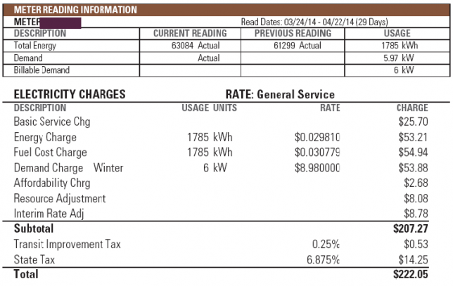 KW vs. KWH - Sample Xcel Energy Bill