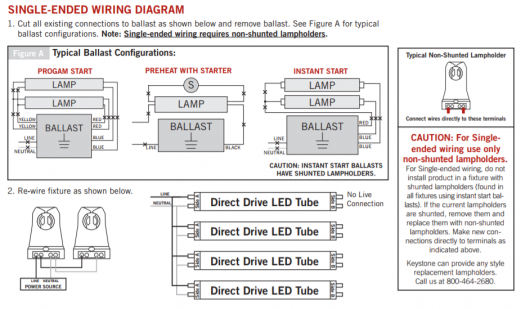 Single Ended Wiring Diagram Led T8 Premier Lighting on