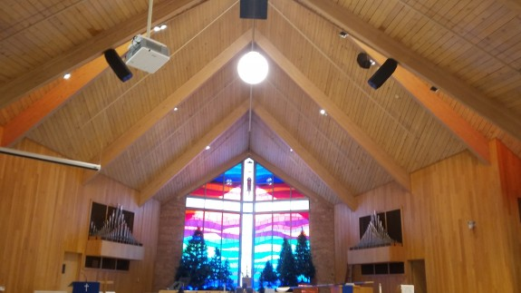 New white LED track lighting at a church sanctuary